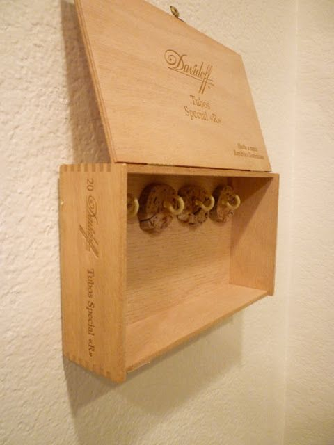 Repurposed cigar boxes key storage cigar boxes and cigar for Old wooden box ideas