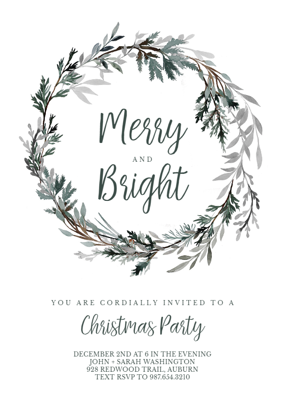 Frost Bound Wreath Invitation Template Customize Add Text And