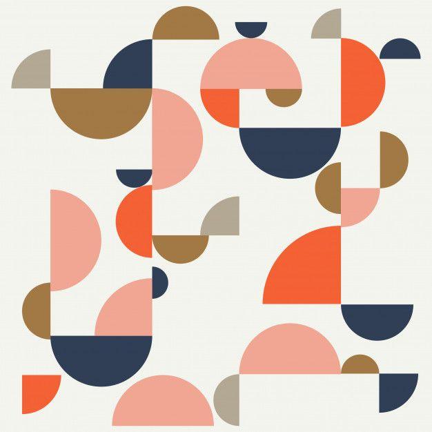 Bauhaus Abstract Memphis Background Premium Vector