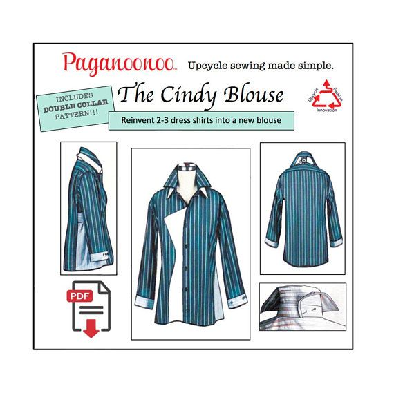 Cindy Blouse Pdf Sewing Pattern Double Collar Tunic Sewing