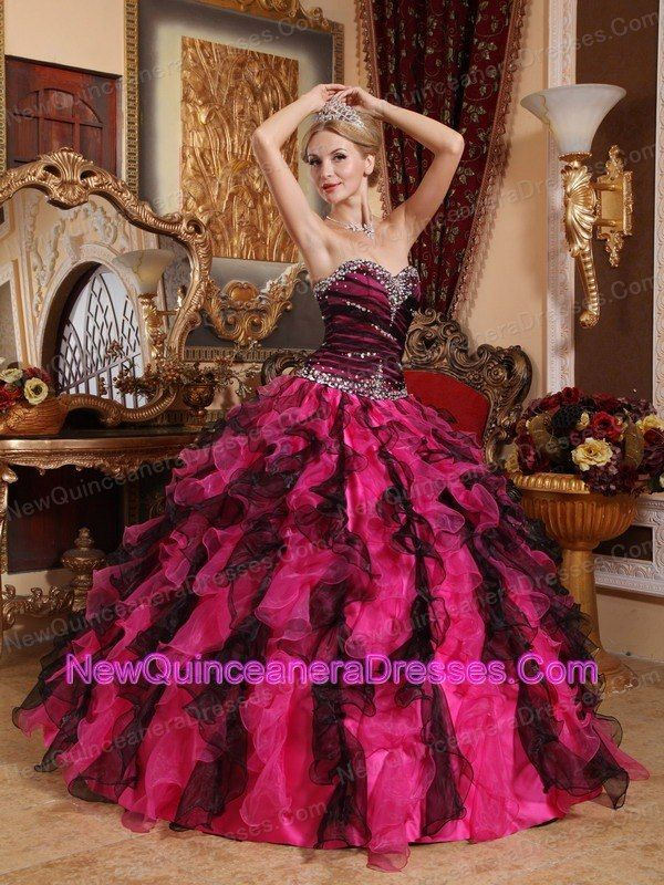 Popular Black and Hot Pink Quinceanera Dress Sweetheart Organza ...