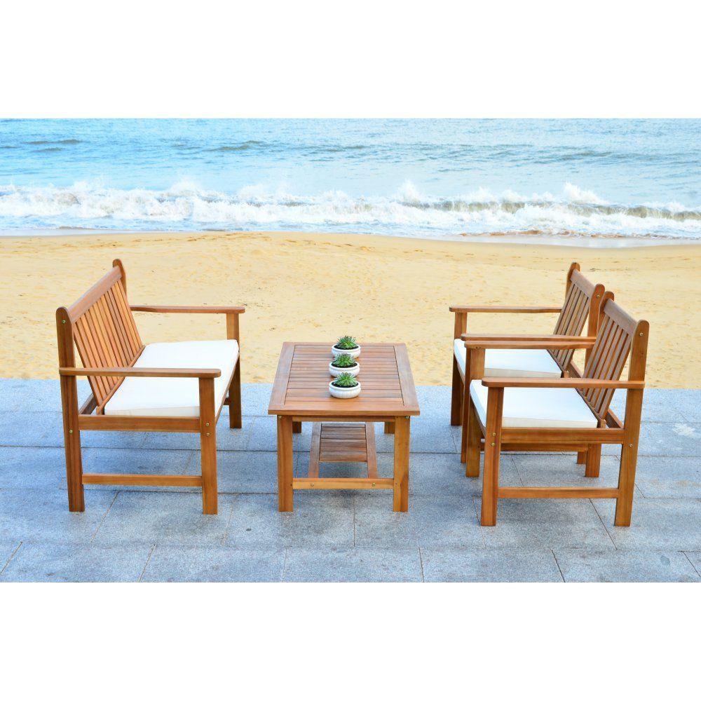 safavieh burbank acacia wood 4 piece outdoor conversation set rh pinterest com