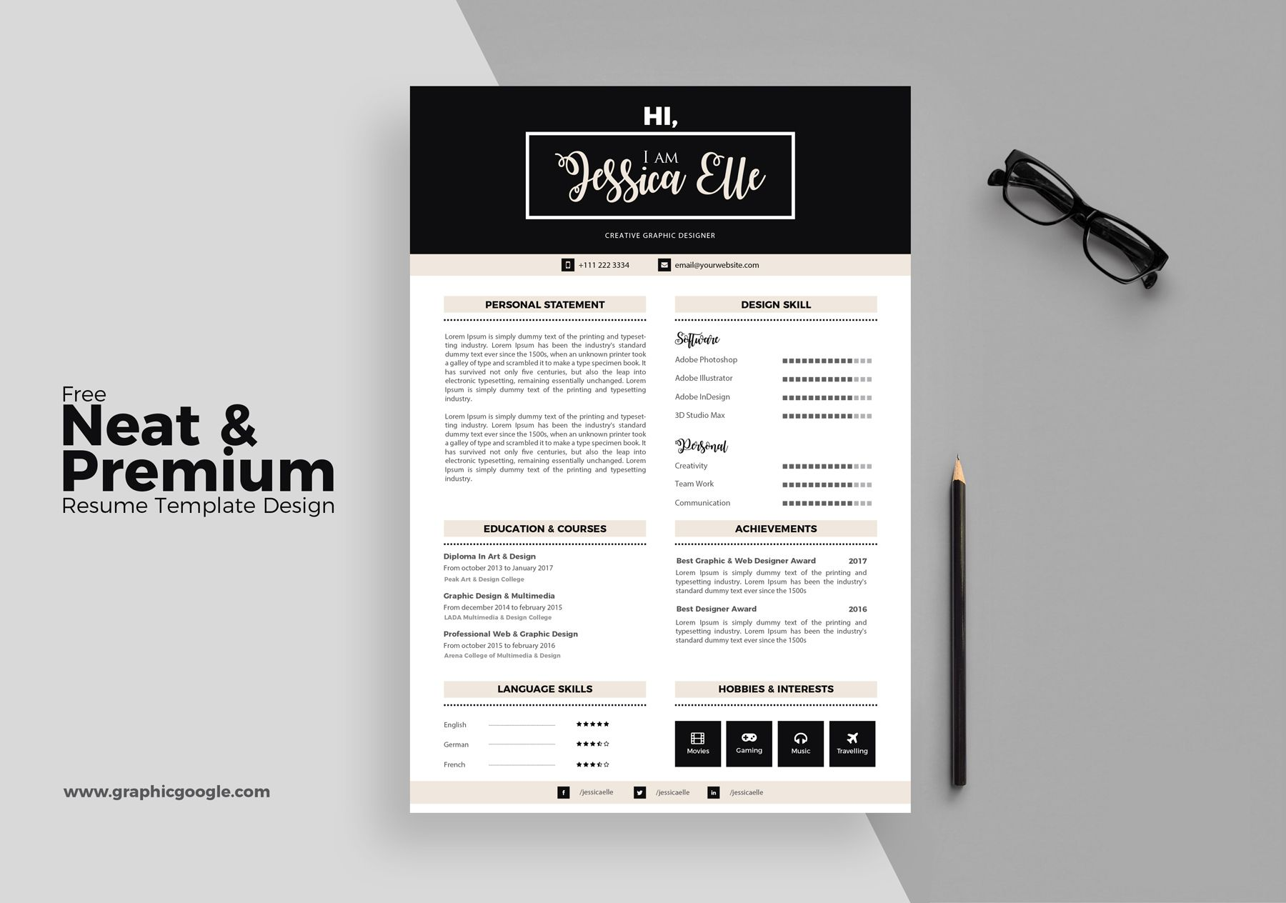 Free-Neat-&-Premium-Resume-Template-Design | Dribbble Graphics ...