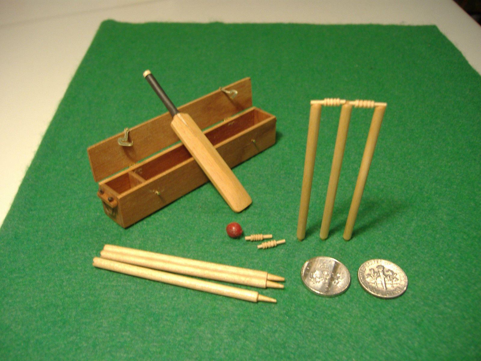 Dolls house miniature 1/12th scale Cricket set | eBay & Dolls house miniature 1/12th scale Cricket set | eBay | Miniatures ...