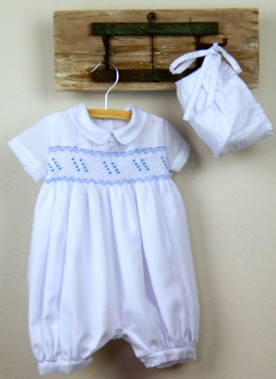 Baby Boy Smocked Romper With Bonnet White Cotton Baby