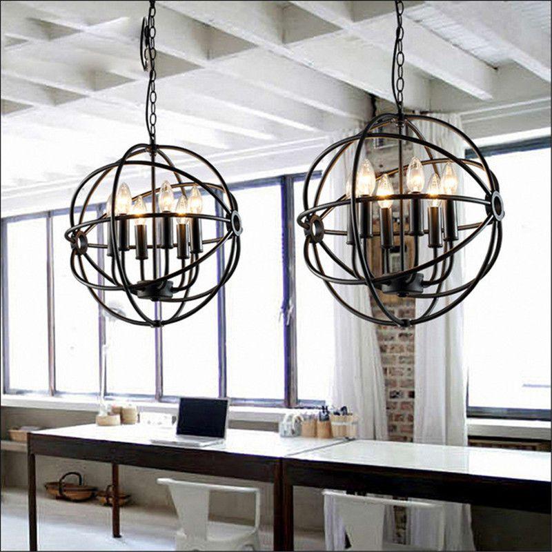Metal Orb Chandelier Hanging Globe Light Dining Rustic