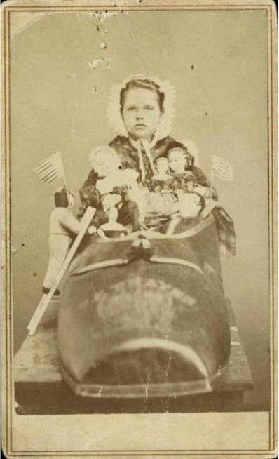 1864 Carte De Visite Portrait Of Nellie Grant Daughter Ulysses S As The Old Woman Who Lived In A Shoe At St Louis Sanitary Fair