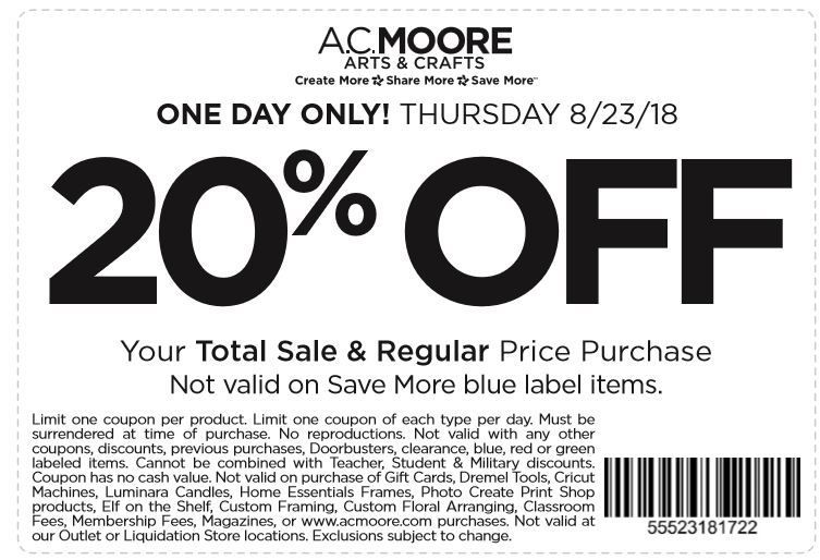 graphic about Ac Moore Printable Coupon called AC Moore Coupon: Currently Just! 20% Off Comprehensive Obtain