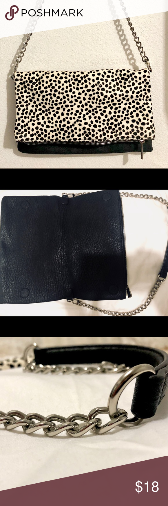 c8f5a2708ce8 Express faux fur fold-over crossbody Excellent condition! Beautiful  monochromatic animal print Detachable chain strap Perfect going out bag!