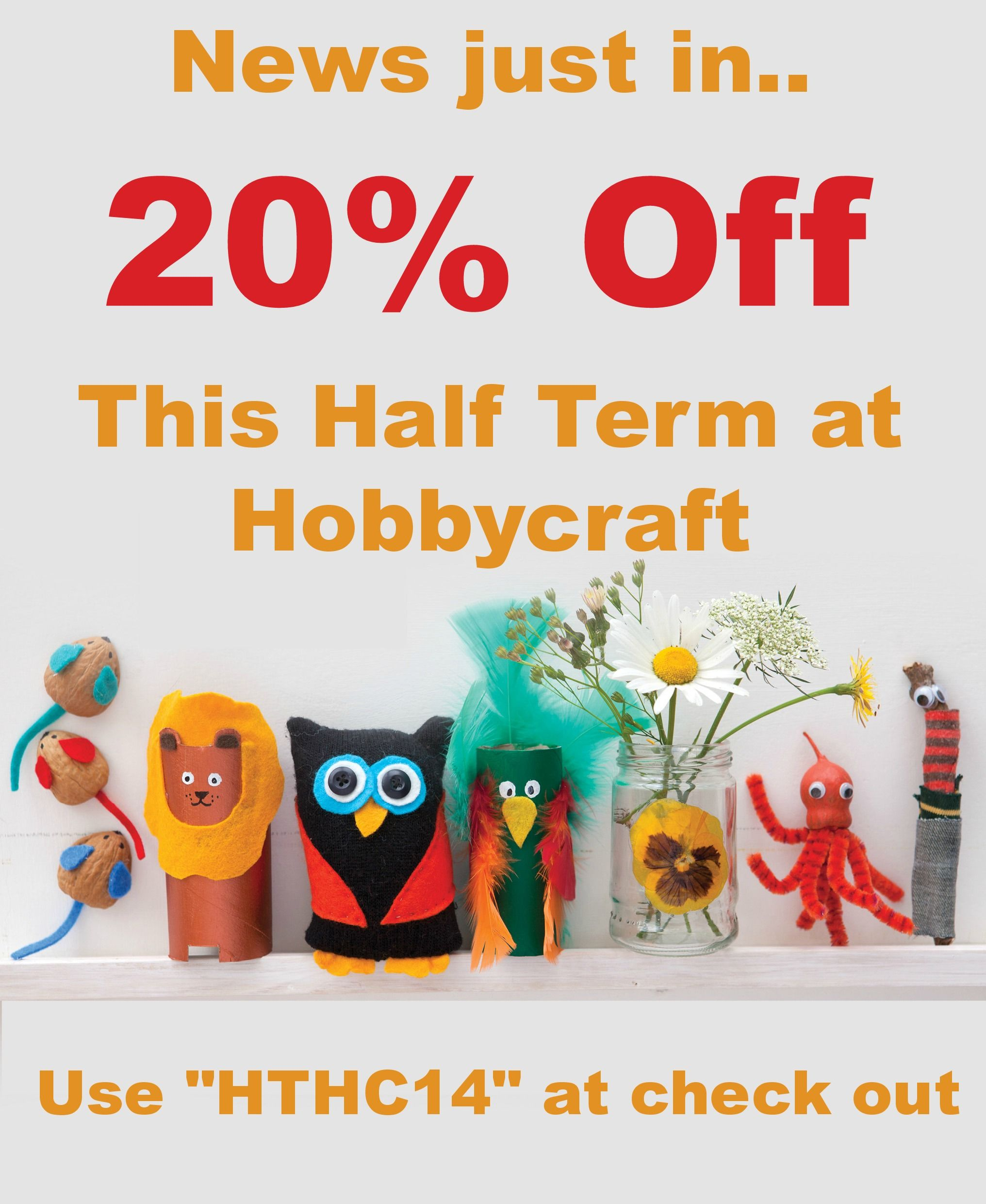 Ooh 20 Off At Hobbycraft Just In Time For Half Term Love It Use Hthc14 At Check Out Craft Supplies Online Hobbies And Crafts Crafts For Kids