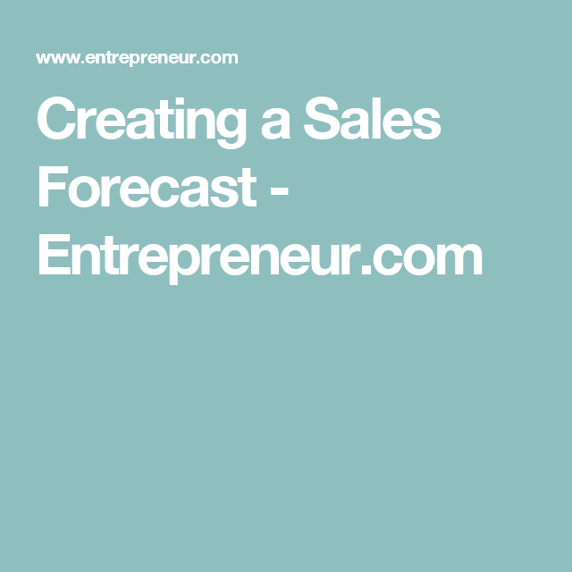 Creating A Sales Forecast  Learning