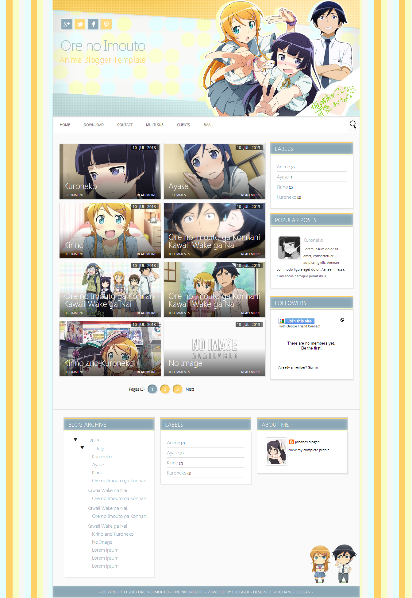 Ore No Imouto Blogger Template Templates Places To Visit Design Anime