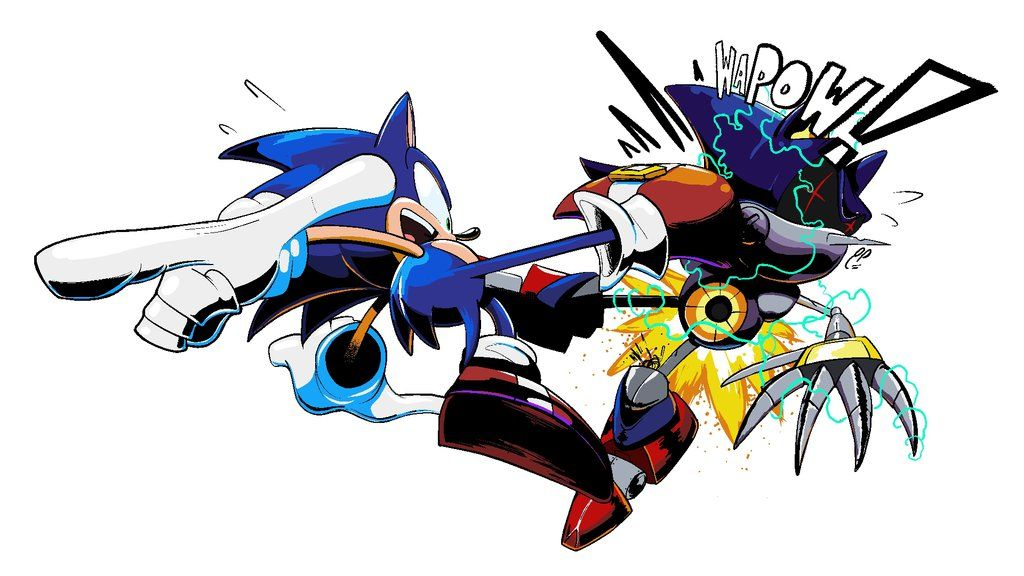 Sonic vs. metal sonic. Awesome style and coloring. (2012