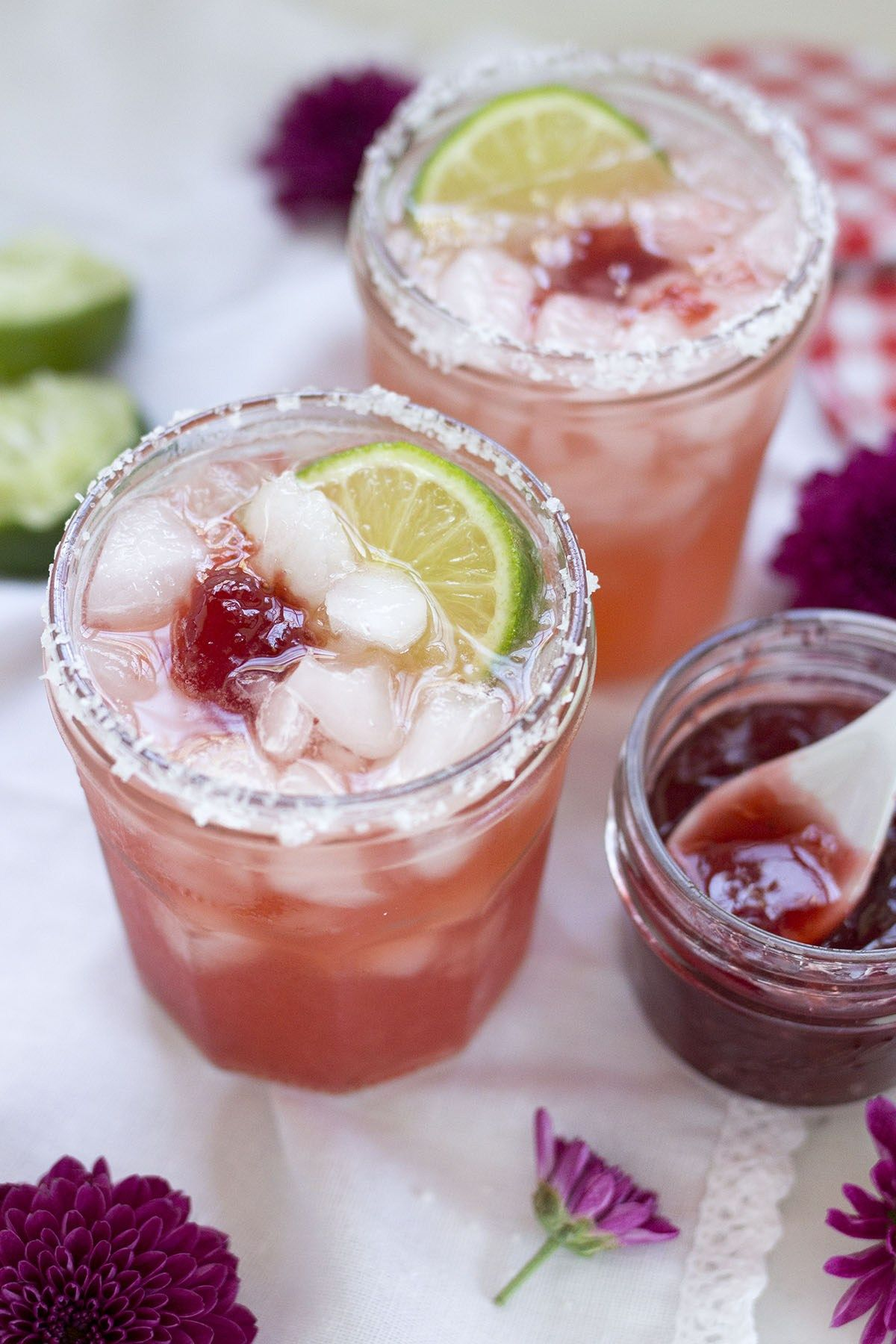 9620581c2913 Don t wait until summer to make these easy Jam Jar Margaritas! Sweet  strawberry jam shaken with a classic margarita and served in jam jars. Yum!
