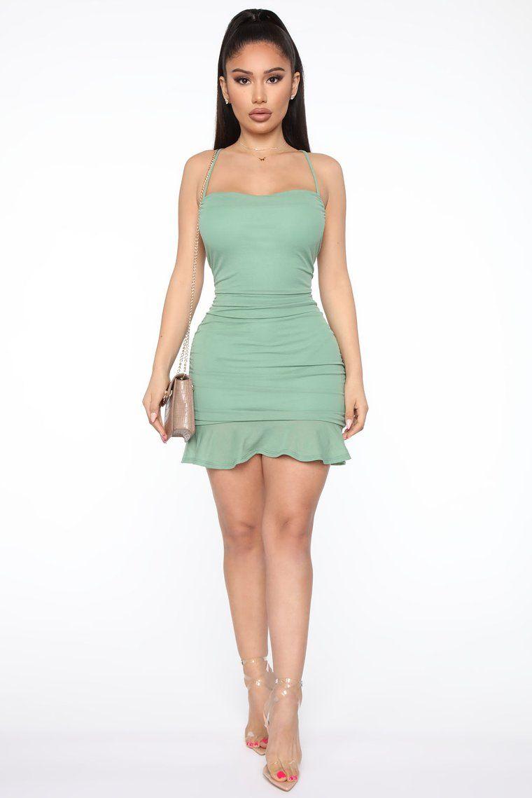 All In Mesh Ruched Mini Dress Green Mini dress