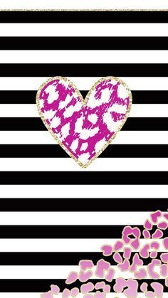 Pink Heart With Black And White Stripes