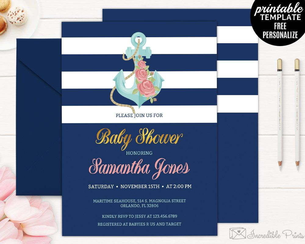 Navy Baby Shower Invitation Template. Printable Maritime Nautical ...
