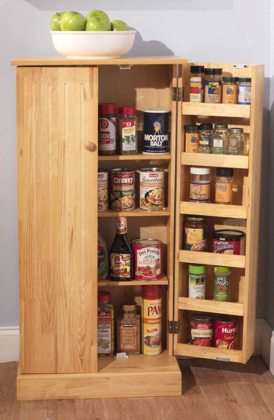 Pine Wood Utility Kitchen Pantry 4 Rack Cabinet Storage 2 Organizer Unit In Home Garden Furniture Cabinets Cupboards