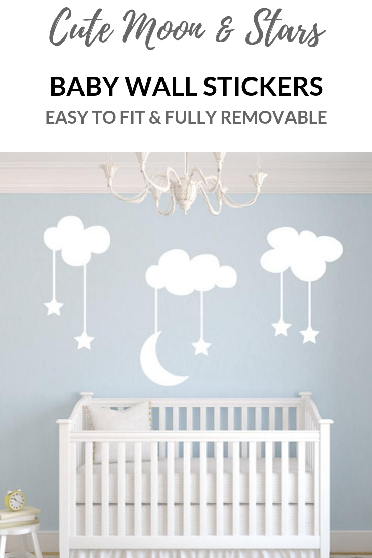 Cutest Clouds With Moon And Stars Wall Art Decals For A Nursery Bedroom Or Newborn Baby Room Over A Cot Perfect Nursery Decor