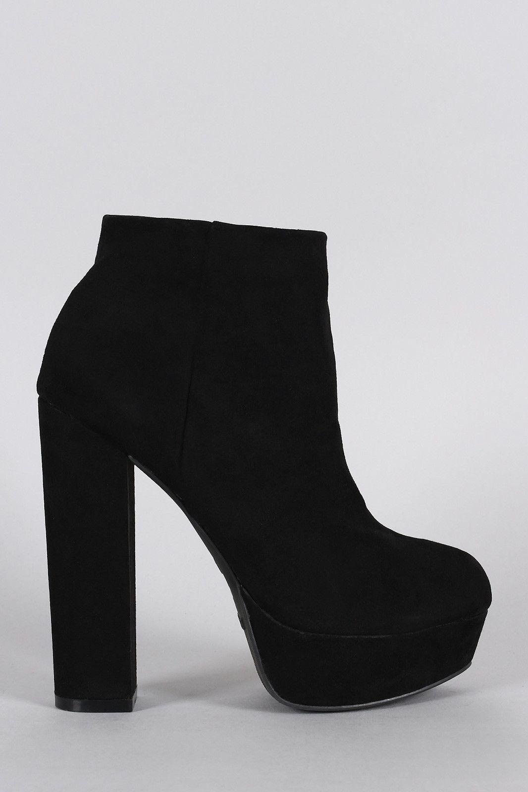 Chunky Heeled Platform Ankle Boots