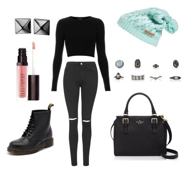 Untitled #201 by fashionxstuff on Polyvore featuring polyvore fashion style Topshop Dr. Martens Kate Spade Waterford Columbia Laura Mercier