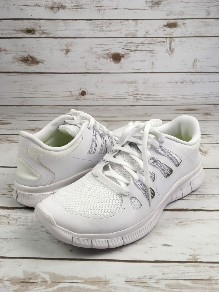 NIKE Sneakers Trainers Running Free 5.0 + Plus White Shoes Womens 9.5 599437
