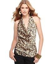 Jessica Simpson Top, Sleeveless Cowl Neck Leopard Printed Halter Racerback Tank  - StyleSays