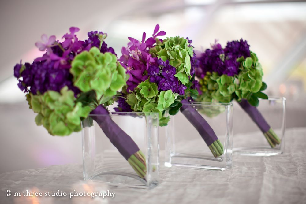 Museum Wedding Purple And Green Bridal Bouquets