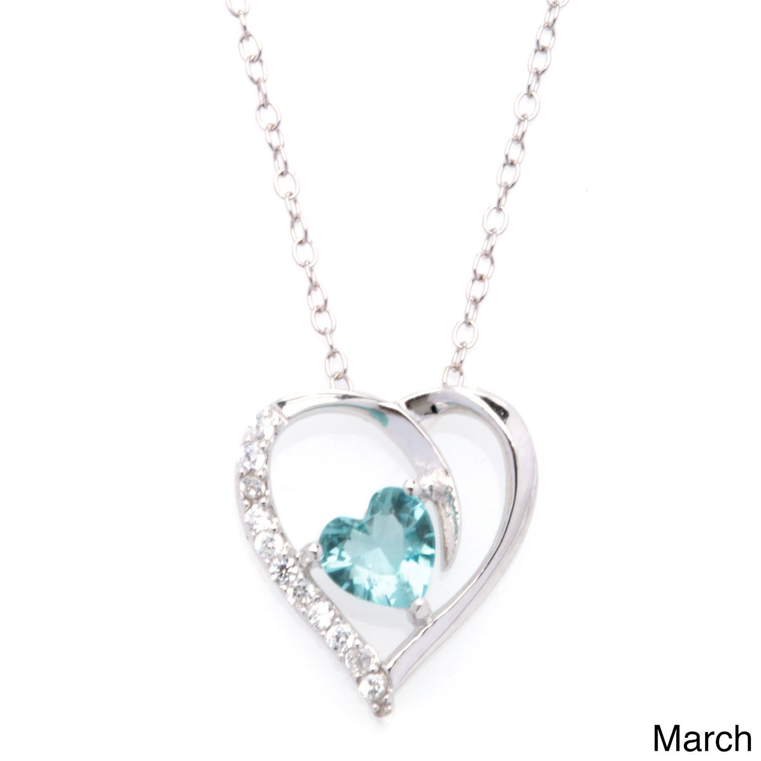 Blue Birthstone Women Pendant Necklace with 18 inches Chain Rhodium Plated hV8TlCGF