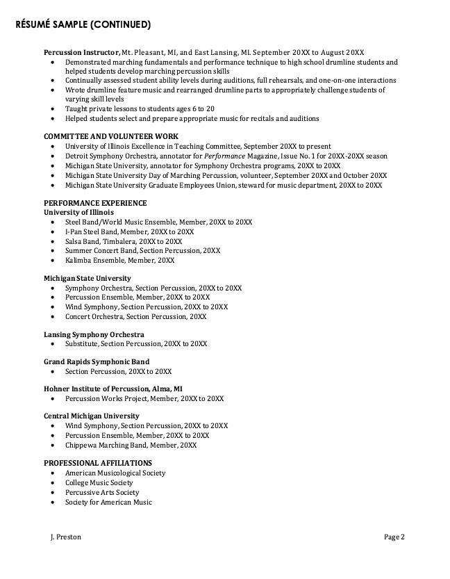 Professor Musicology Resume Sample Resumesdesign Sample Resume Templates Student Performance Resume