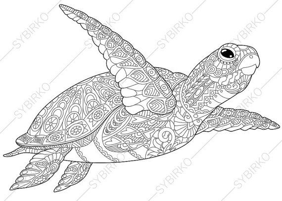 Adult Coloring Pages Sea Turtle Zentangle Doodle Coloring Pages