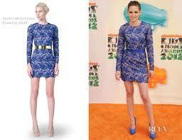 Kristen Stewart in blue lace Stella McCartney dress