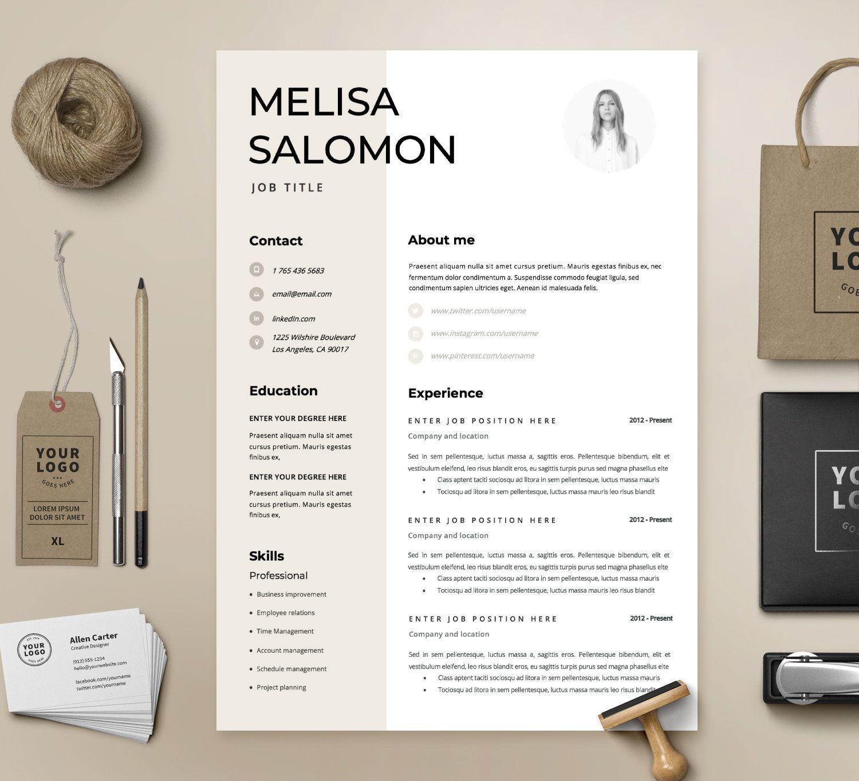 Resume template cv template resume cv design teacher etsy