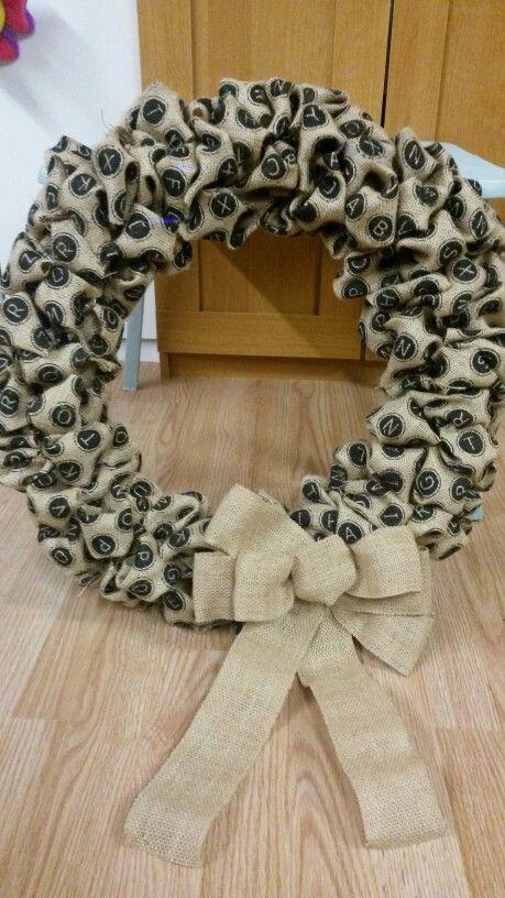 Alphabet burlap wreath