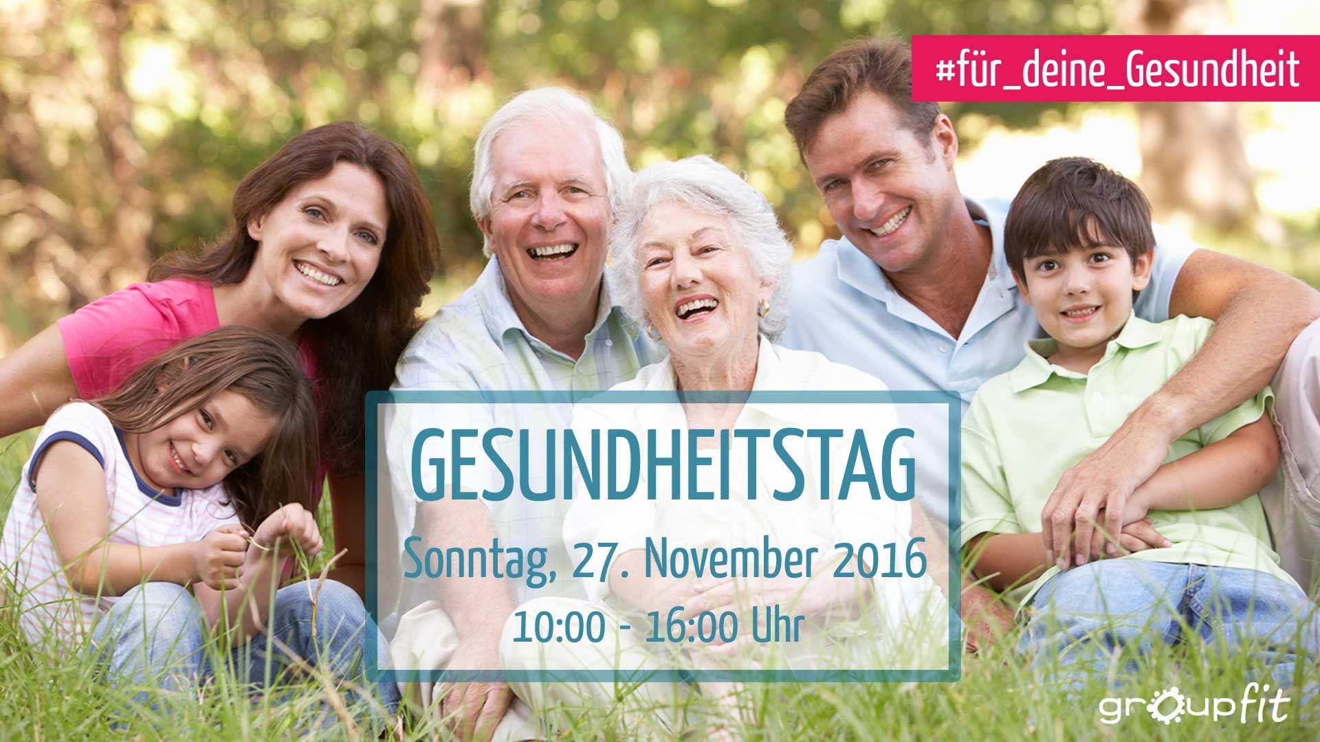 Unter dem Motto #Für_deine_Gesundheit , findet am 27. November 2016 unser Gesundheitstag statt. Von 10:00 – 16:00 Uhr könnt Ihr an verschiedenen Kursen und Vorträgen zum Thema Gesundheit teilnehmen.  Anmeldung unter www.groupfit.de/gesundheitstag/ Eintrittspreis: 25,- €