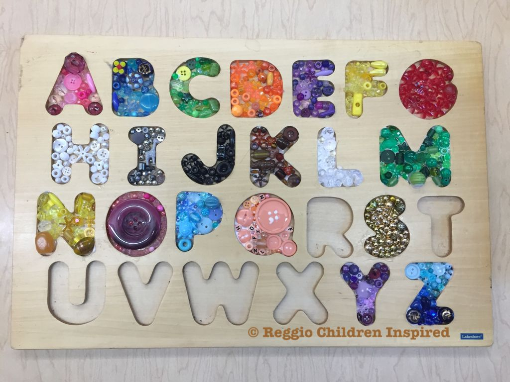 Recycling Puzzle Boards  Filling in the letters with Beads & Buttons