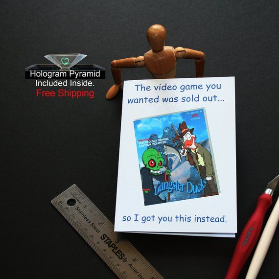 The Video Game Birthday Card Funny Birthday Card Hologram Pyramid