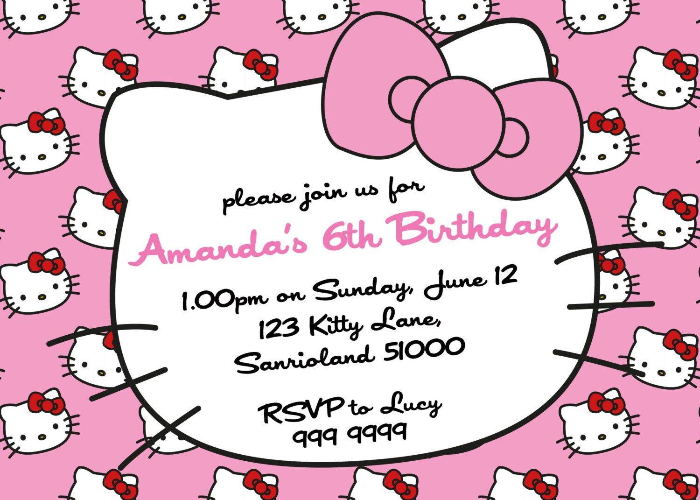 printable hello kitty invitations personalized
