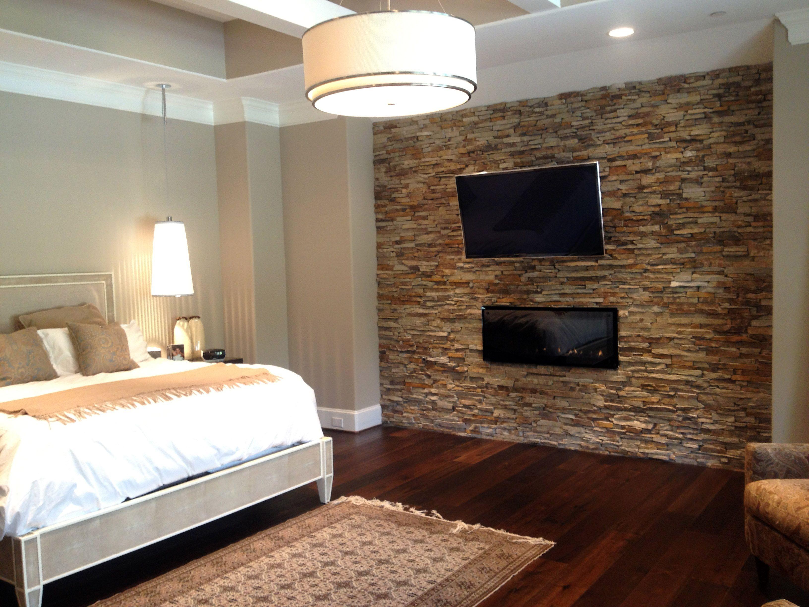 Master Bedroom Virginia Ledgestone Accent Walls Natural