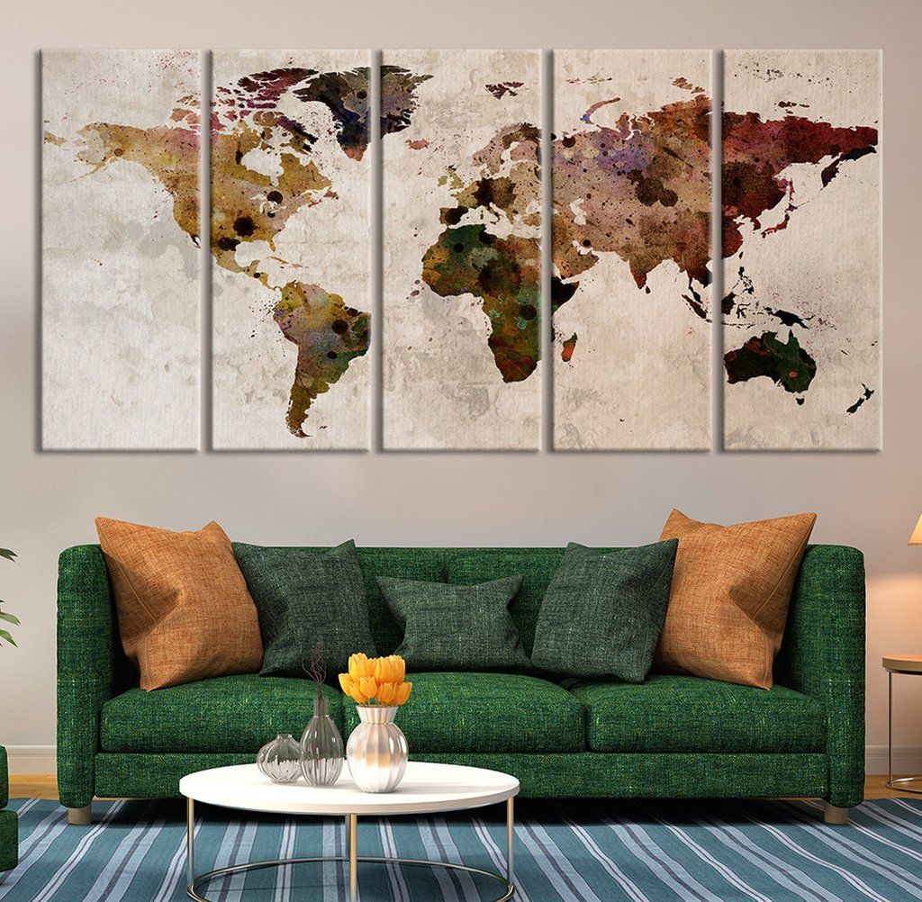 Map art large canvas print rustic world map large wall art extra