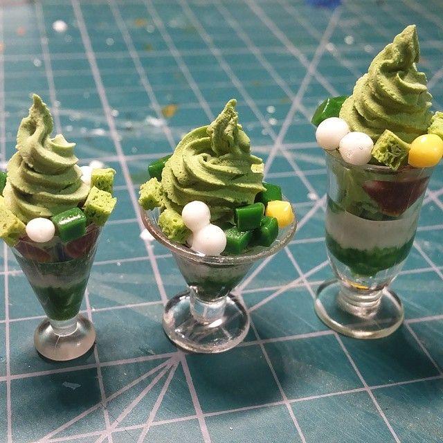miniaturefood  녹차파르페. 영어로 모지?#mochaparfait#mochaicecream #miniature #miniaturefood#fakefood #clay#미니어쳐#김포댁입니당