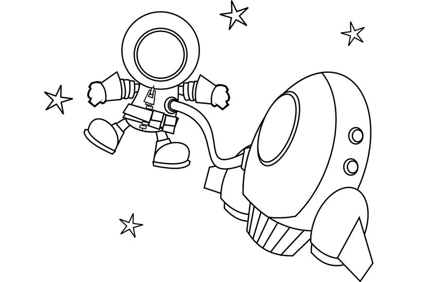 Cohete De Astronauta Y Vintage De Dibujos Animados: Dibujo De Un Astronauta En El Espacio