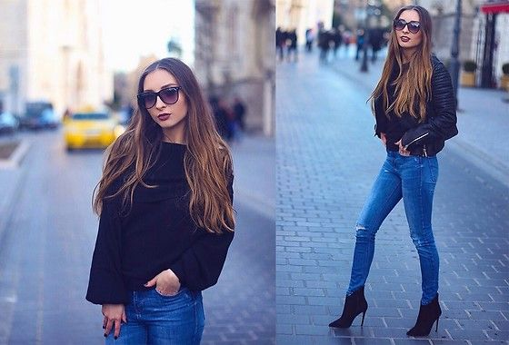 Get this look: http://lb.nu/look/8621227  More looks by Aliz M: http://lb.nu/alizm  Items in this look:  Zara Off The Shoulder Sweater, Aldo High Heel Ankle Boots   #chic #classic #edgy #outfit #ootd #leatherjacket
