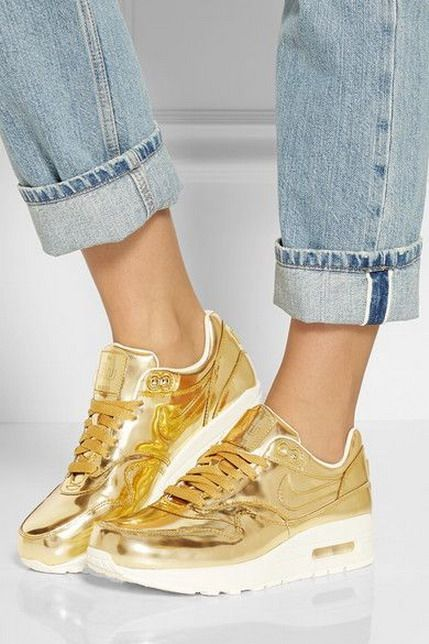 There is 1 tip to buy these shoes: nike air max gold sneakers nike sneakers  white metallic leggings nike platform shiny gold metallic air max trainers.