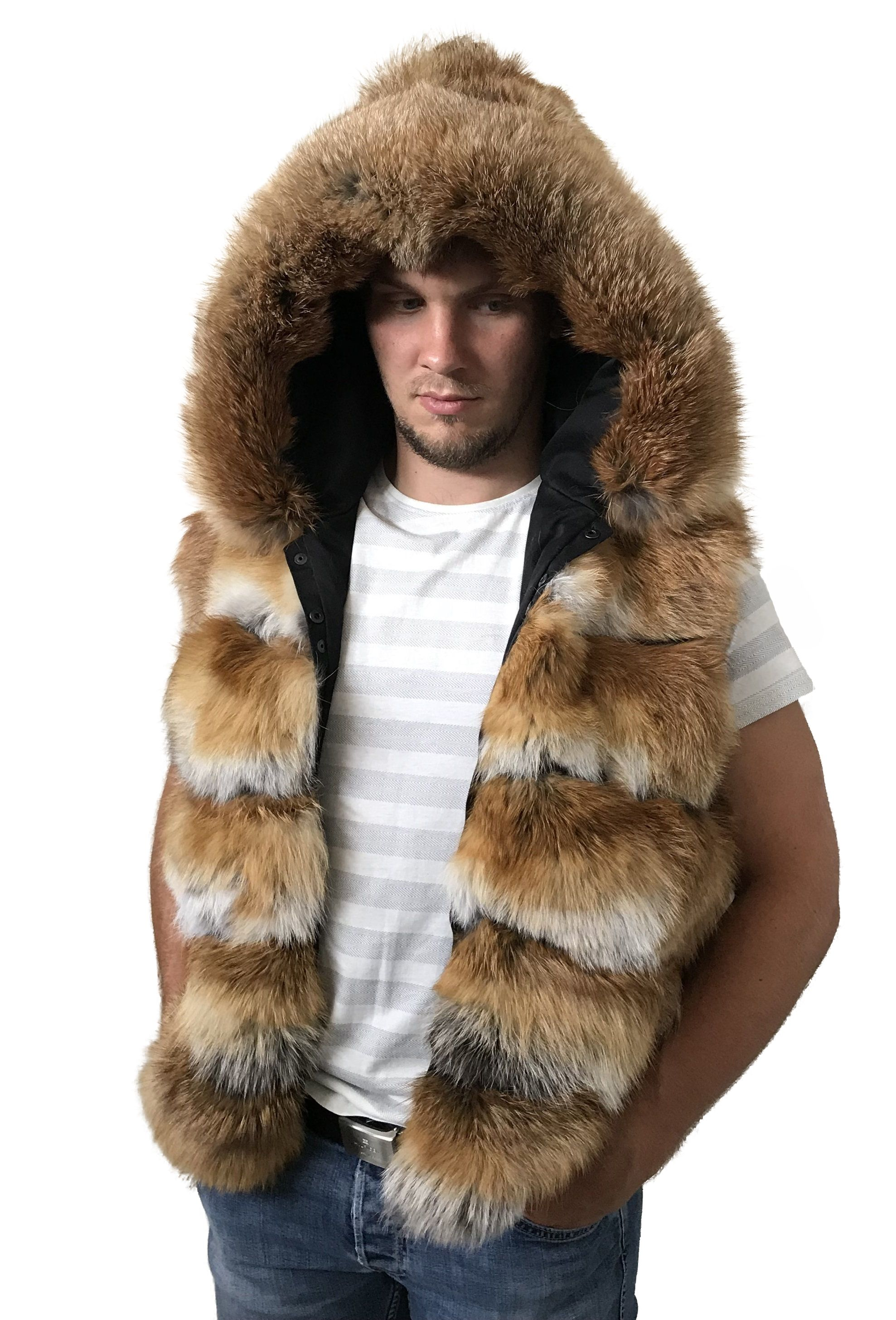 a6db7b5fe8458 Vest hood Men made of genuine fox fur   Shopping   Fur, Men s coats ...