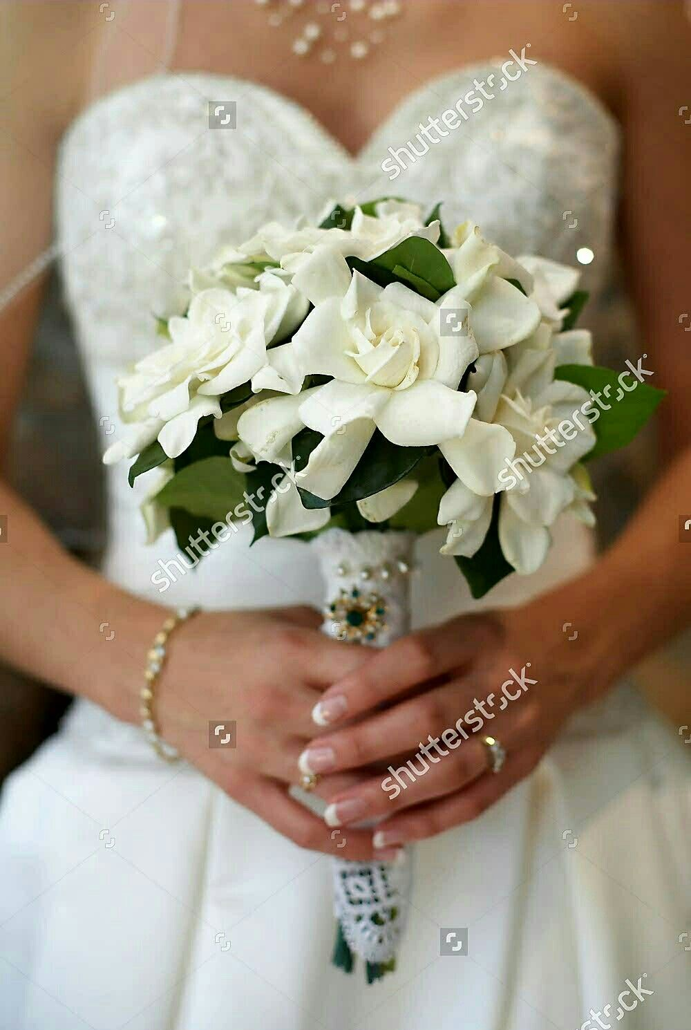 Simple But Stunning White Gardenias Greenery Bridal Bouquet Wedding Flower Inspiration Flower Bouquet Wedding Wedding Bouquets