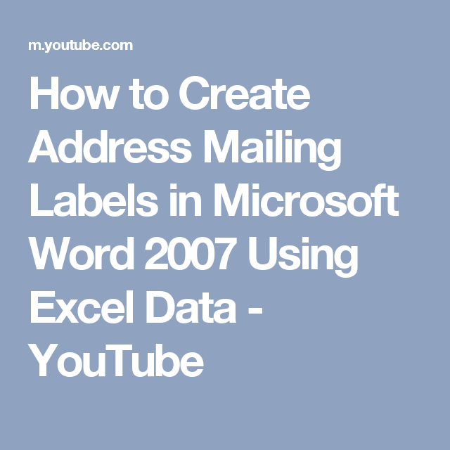 How To Create Address Mailing Labels In Microsoft Word
