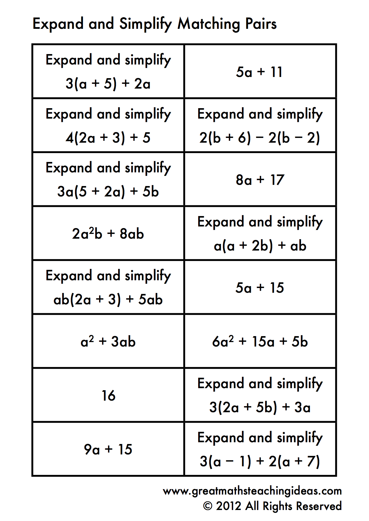 worksheet Writing And Solving Equations Worksheet expanding and simplifying single brackets matching pairs teaching distributive property