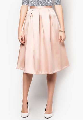 Light Pink Satin Box Pleat Midi Skirt | FASHION | Pinterest | Pink ...