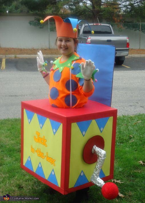 Jack in the Box Costume Kids Scary Jester Halloween Fancy Dress